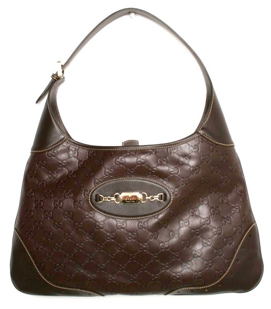 Gucci 145781 Guccissima Brown Hobo Med Leather Handbag
