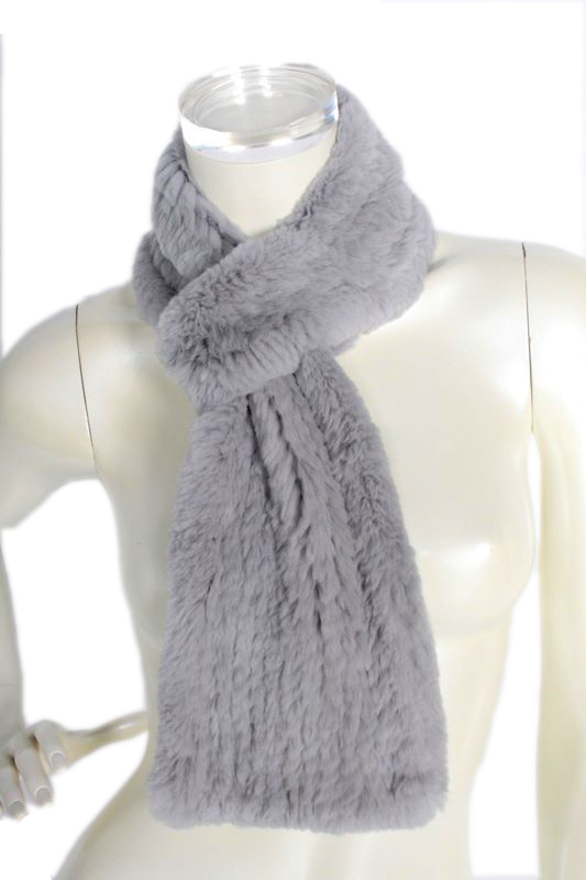 Pinuccia Botondi Womens Rabbit Fur Wrap Gray Scarf